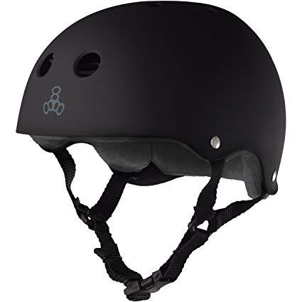 Triple 8 Brainsaver Rubber Helmet with Sweatsaver Liner (Black Rubber, X-Large)