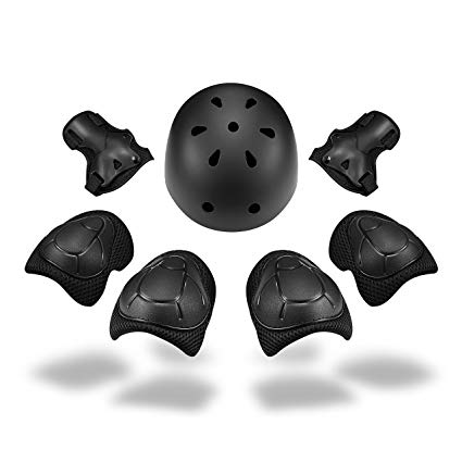 Kid's Helmet Knee Pads Protective Gear Set and Elbow Pads with Wrist Guards for Skating Cycling Bike Rollerblading Scooter (Helmet with Knee Pads 7PCS)